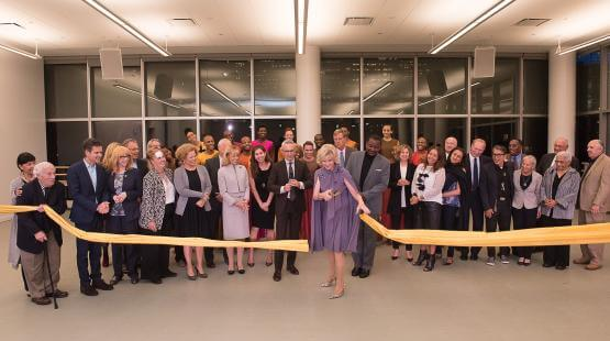 Cutting the ribbon at the opening of the Elaine Wynn & Family Education Wing