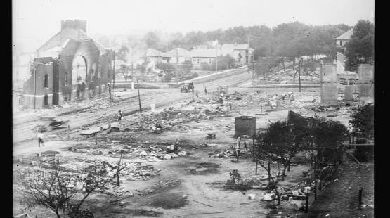 Part of Greenwood district burned during the Tulsa Race Massacre of 1921
