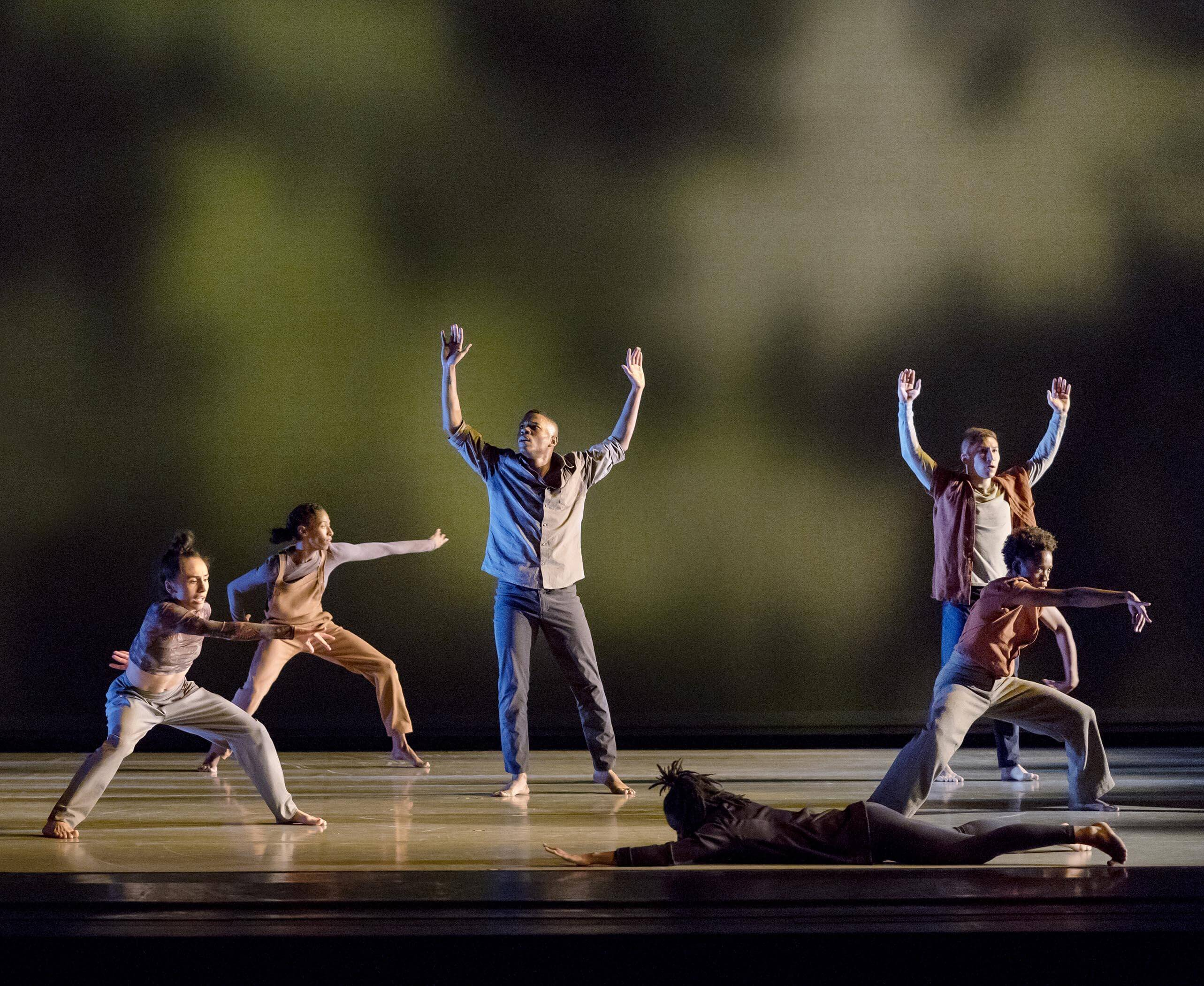 Alvin Ailey American Dance Theater in Camille A. Brown's City of Rain. Photo by Paul Kolnik.