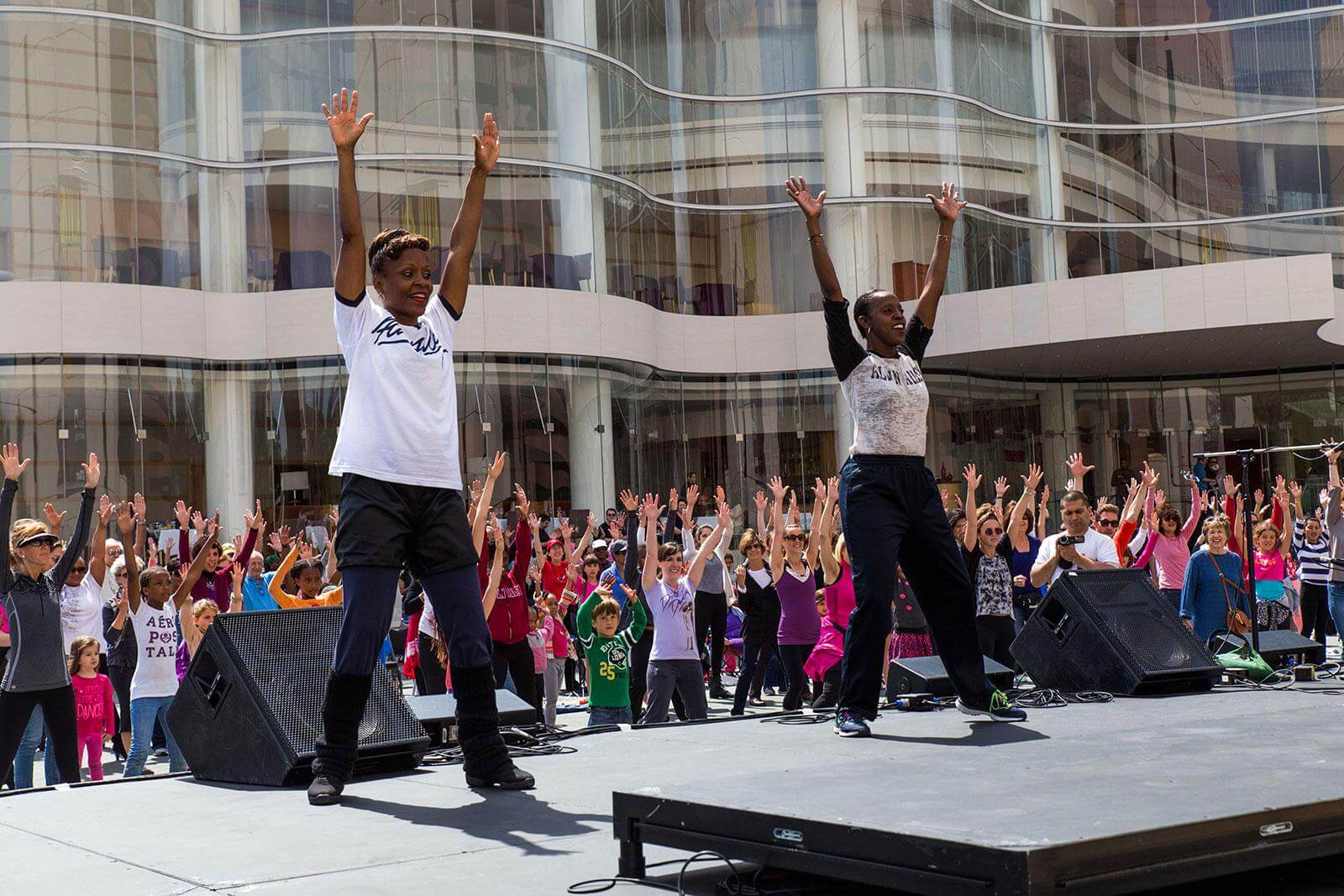 Former Ailey dancer Renee Robinson and Ailey master teacher Nasha Thomas leading a Revelations Celebration at the Segerstrom Center for the Arts in Costa Mesa, CA, photo by Joesan Diche