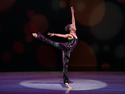 AAADT's Samantha Figgins in Alvin Ailey's Pas de Duke from Timeless Ailey 60th Anniversary program. Photo by Paul Kolnik